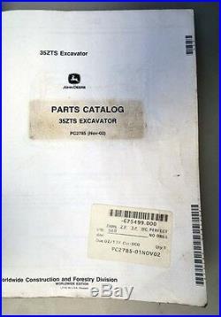 2002 John Deere 35ZTS Excavator Parts Manual (Inv. 33602)