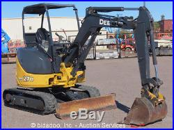 2012 John Deere 27D Hydraulic Mini Excavator Aux Hyd Backfill Blade Q/C bidadoo