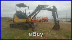 2012 John Deere 27D Mini Ex Trackhoe Excavator 2185Hrs 26Hp 6300Lbs Used