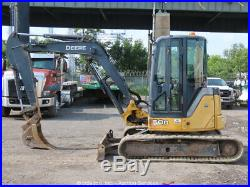2012 John Deere 50D Mini Excavator A/C Cab Trackhoe Aux Hyd Blade Q/C bidadoo