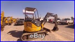 2013 John Deere 27D Small Excavator Mini EX Trackhoe With Push Blade Used