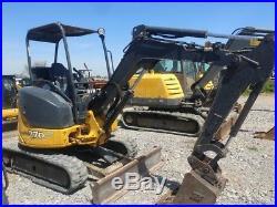 2013 John Deere 27 D Mini Ex Excavator TrackHoe Remote Hyd Couplers Used