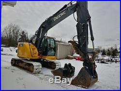 2014 John Deere 135G Excavator, Long Arm, Hyd Thumb, 2 Buckets, Pin Grabber