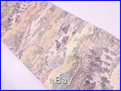 3090417 Japanese Kimono / Vintage Fukuro Obi / Woven Scenery In The Past