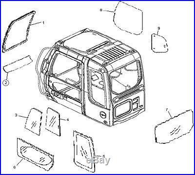4602563R John Deere Excavator C Series Lower Windshield Glass 120C 160CLC 370C +