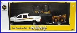 ERTL 132 JOHN DEERE Construction Set TRUCK TRAILER SKIDSTEER MINI EXCAVATOR