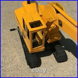 Ertl John Deere Metal Track Back Hoe Excavator Crank Handle Moves Bucket. #FS