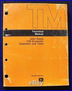 Genuine John Deere 70d Crawler Excavator Tractor Operation & Test Service Manual