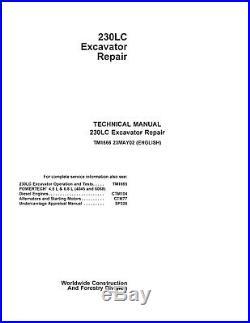JD John Deere 230LC Excavator Repair SERVICE REPAIR MANUAL CD TM1666
