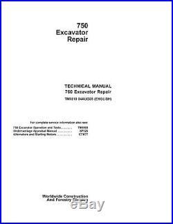 JD John Deere 750 Excavator Repair SERVICE REPAIR MANUAL TM1810 CD