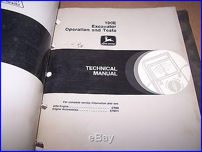john deere 120 excavator parts manual