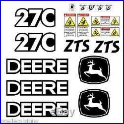 JOHN DEERE 27C ZTS Mini Excavator DECALS Stickers SET