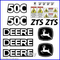 JOHN DEERE 50C ZTS Mini Excavator DECALS Stickers SET
