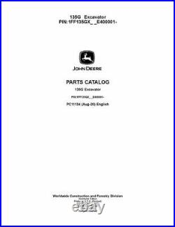 John Deere 135g Excavator Parts Catalog Manual