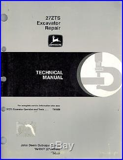 John Deere 27zts Excavator Technical Manual Operation Tm1837 New
