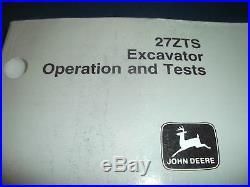 John Deere 27zts Excavator Technical Service Shop Op Test Manual Book Tm1838