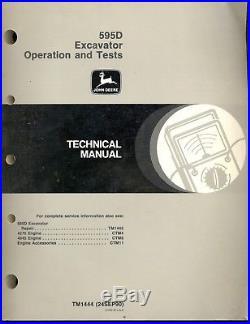 John Deere 595D Excavator Technical Shop Service Repair Manual Op Test
