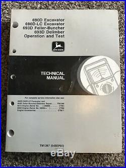 John Deere 690D 693D Excavator Feller Buncher Delimber Technical Manual TM1387