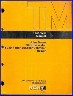 John Deere 690D Excavator 693D Feller Shop Service Manual Repair & Op Test Set