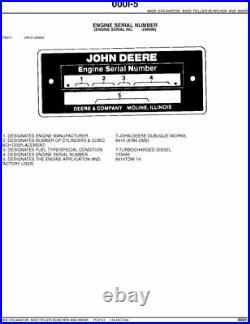 John Deere 690d 693d 690dr Excavator Parts Catalog Manual