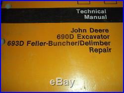 John Deere 690d 693d Excavator Technical Service Shop Repair Manual Book Tm1388