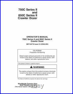John Deere 750C & 850C Series II Crawler Dozer Owner Operator Manual OMT184778