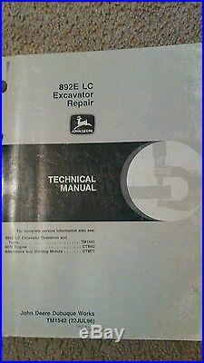 John Deere 892ELC Excavator Repair Manual
