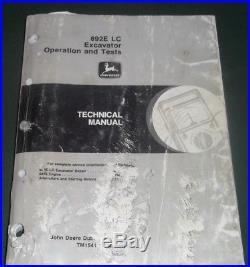 John Deere 892e LC Excavator Technical Service Op Test Shop Book Manual Tm1541