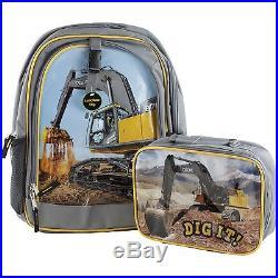 John Deere Excavator School Backpack Book Bag & Lunch Box Tote Boys Construction