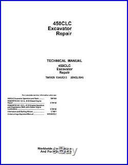 John Deere Technical Manual 450CLC Excavator Repair 450 TM1925