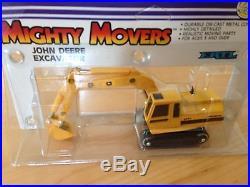 Vintage Lot of 3 Ertl/John Deere Mighty Mover 1/64Excavator #1041, IH Scraper ++