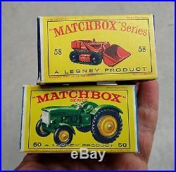 Vintage MATCHBOX TOYS Drott EXCAVATOR 58 & John Deere TRACTOR 50 & BOXES 1960's